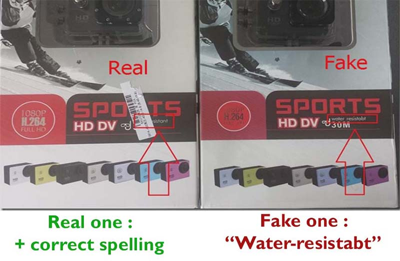 Packing box difference sj4000 real and fake one