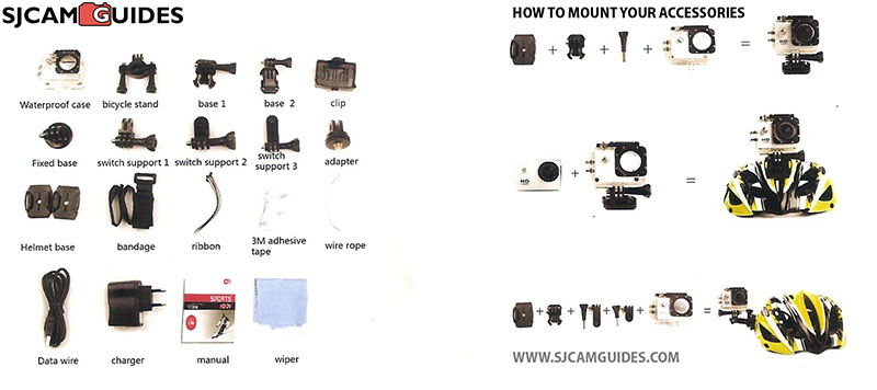 list of sj4000 accessories and how to assemble equipment illustration