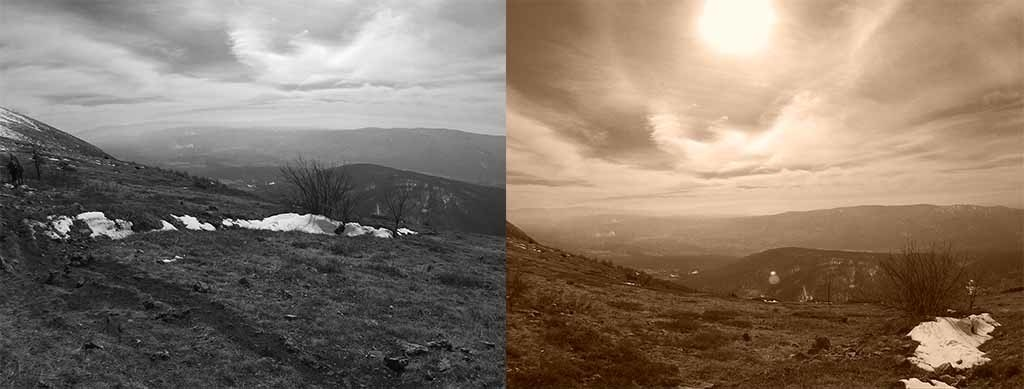 Black and White mode on the left (obviously) and Sepia right