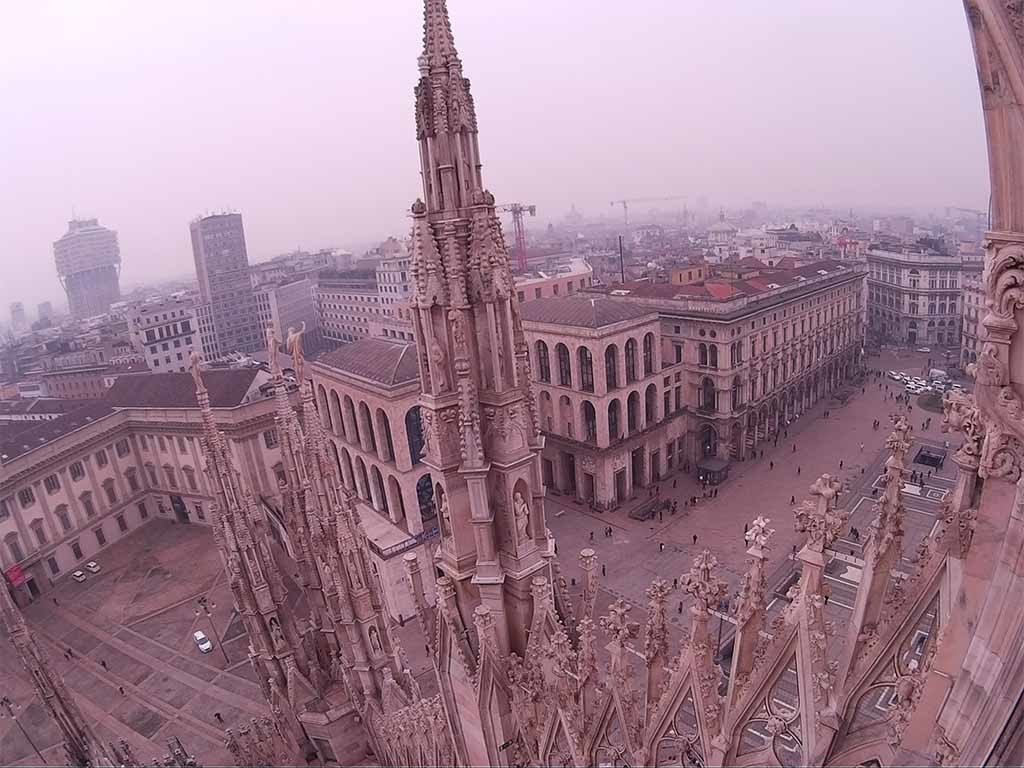 Rooftop view from Duomo Cathedral in Milano