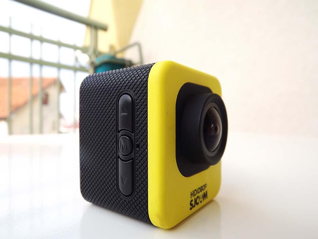 SJCAM M10 Action Camera (photo showing M menu button and up down arrows) yellow