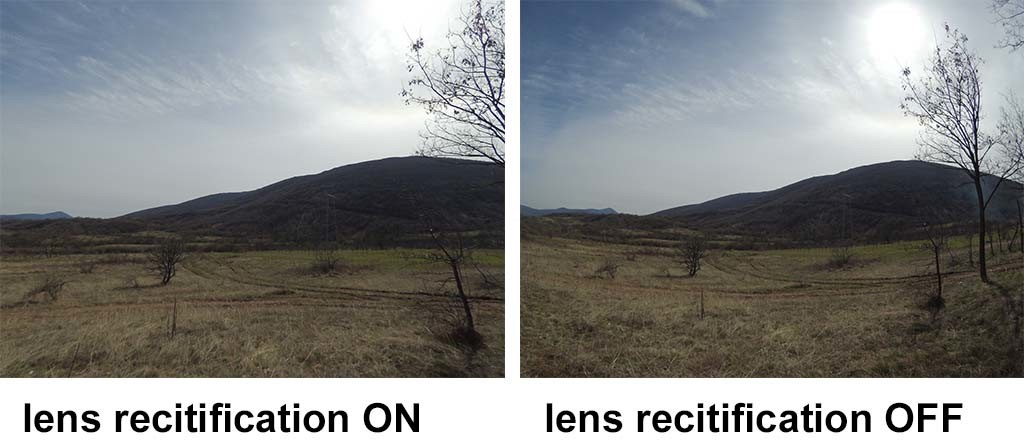 lens rectification ON on the left, off on the right. Noticeable reduction of barrel roll distortion. However field of view gets narrower.