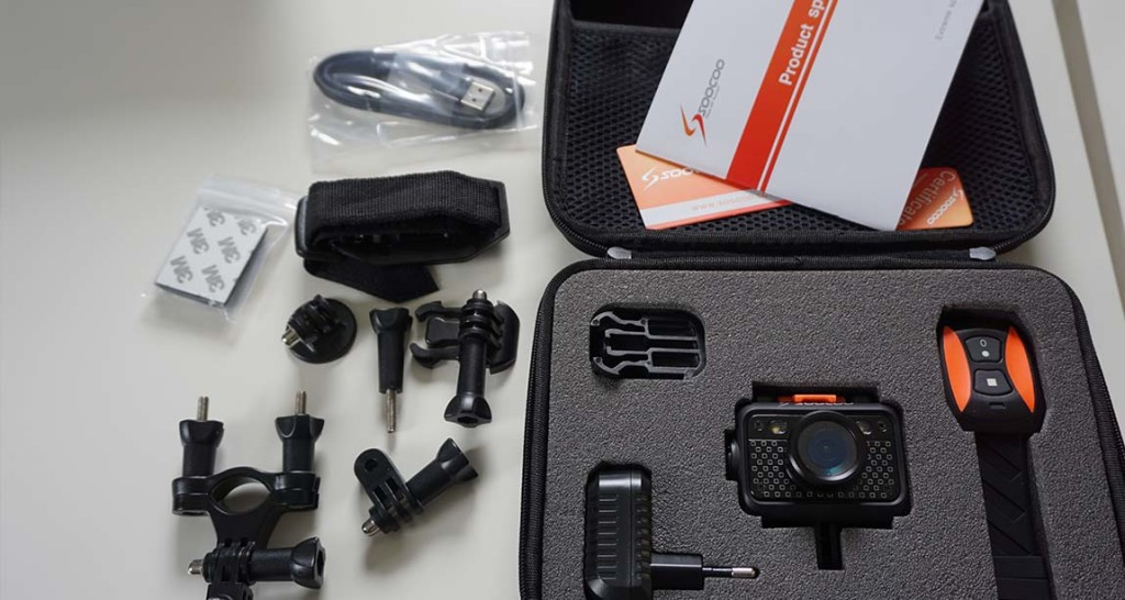 SooCoo S60 gear includes RC watch, protective bag, charger, mounts