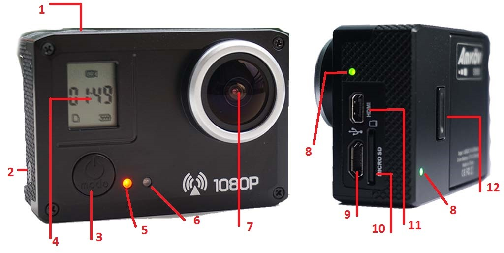Amkov AMK5000S action camera buttons and functions