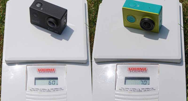 SJ4000 and Xiaomi Yi weight comparison