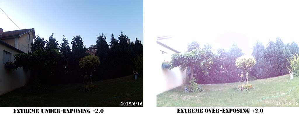 This sample image shows how two exposure extremes influence the brightness of your images.