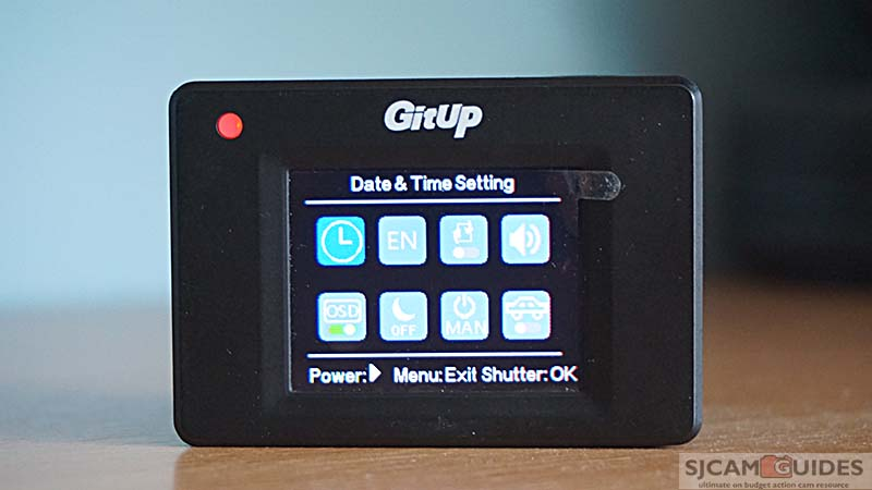 System settings menu in Git1 action camera by GitUp