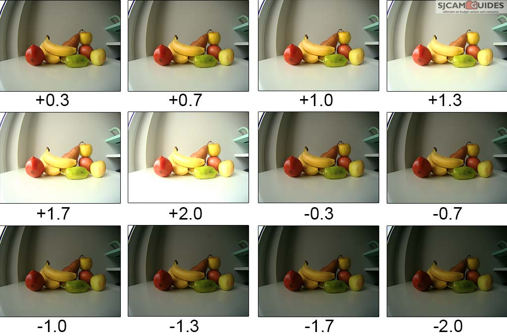 Exposure can be set from +2 to -2 range, and it will brighten up or darken the footage.