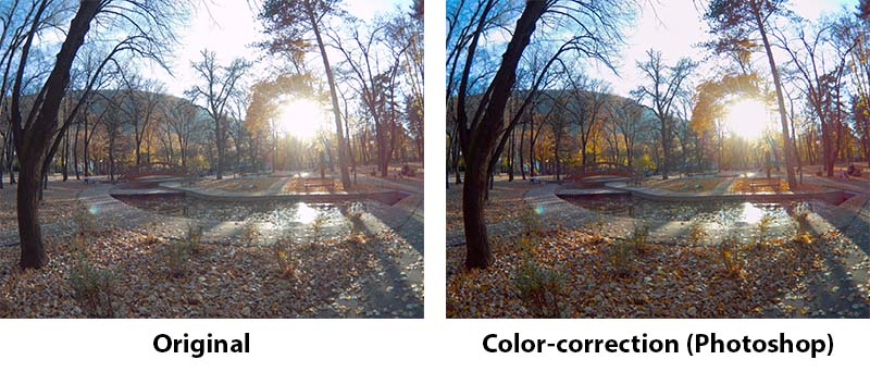"""Original photo processed in Photoshop CS6 to boost colors and add more """"life"""" to the autumn park landscape."""
