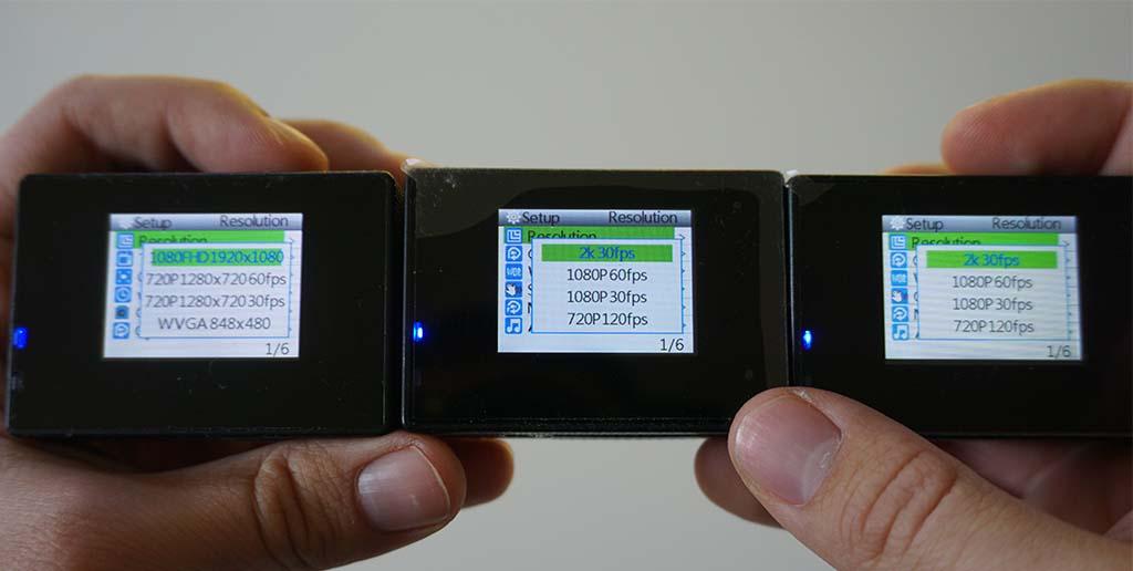 Menu comparison SJ4000 vs SJ4000 plus gyro and standard
