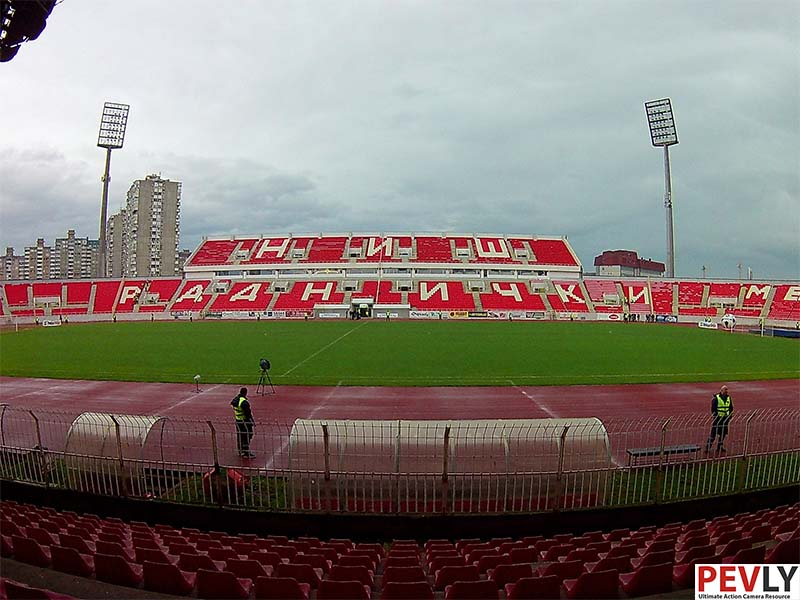 Stadium on a cloudy day.