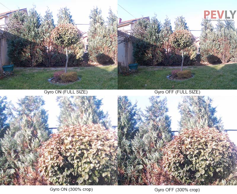 Gyro Stabilization decreases photo quality slightly and reduces field of view.