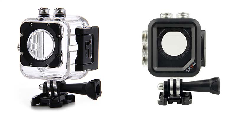 Old waterproof housing on the left, new one with three buttons on the side on the right hand side.