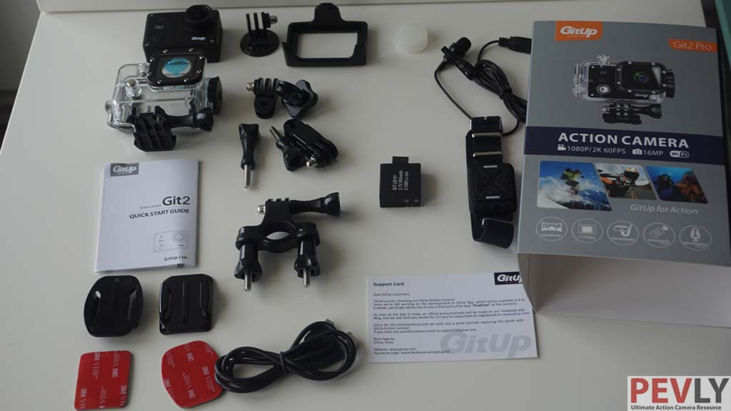 PRO packing offers huge amount of accessories. Picture depicts some optional accessories as well (Microphone)
