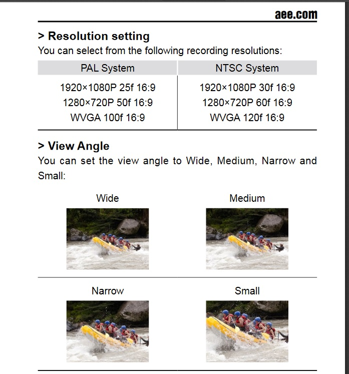 Resolutions and view angle (photo from official AEE MD10 manual)