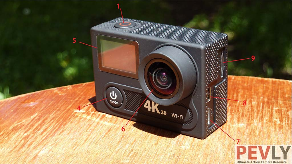 Eken H8R Action Camera buttons and ports 5