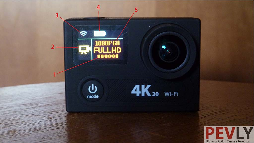 Eken H8R Action Camera buttons and ports front lcd 7