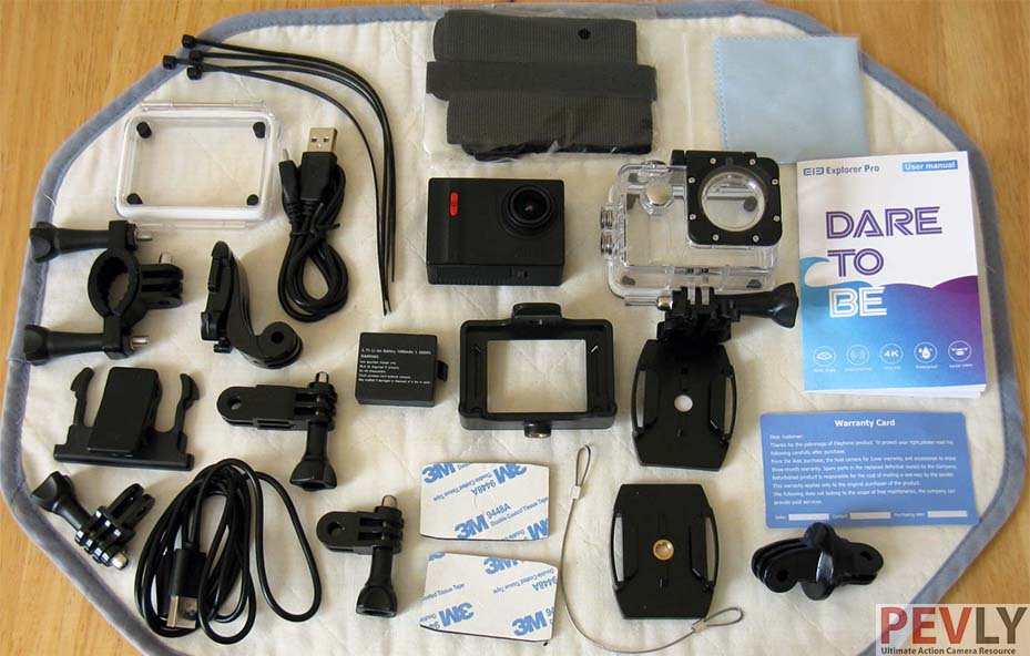 Elephone Explorer Pro Action Camera Box contents