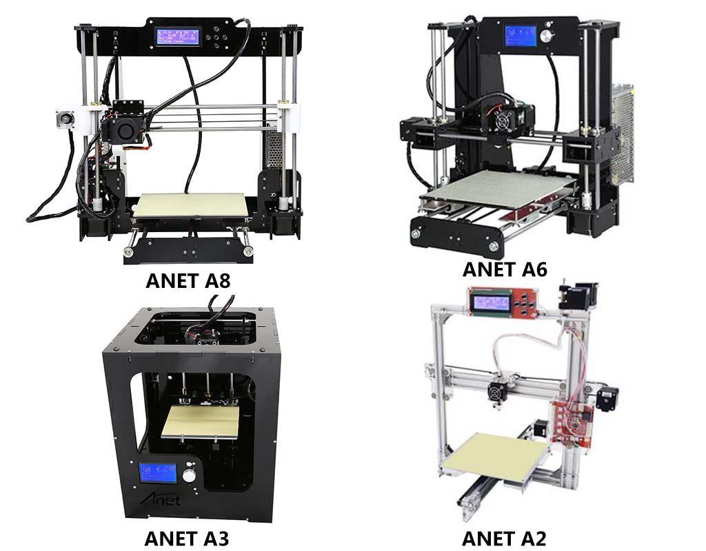 Anet printers compared : Anet A8 vs A6 vs A3 vs A2