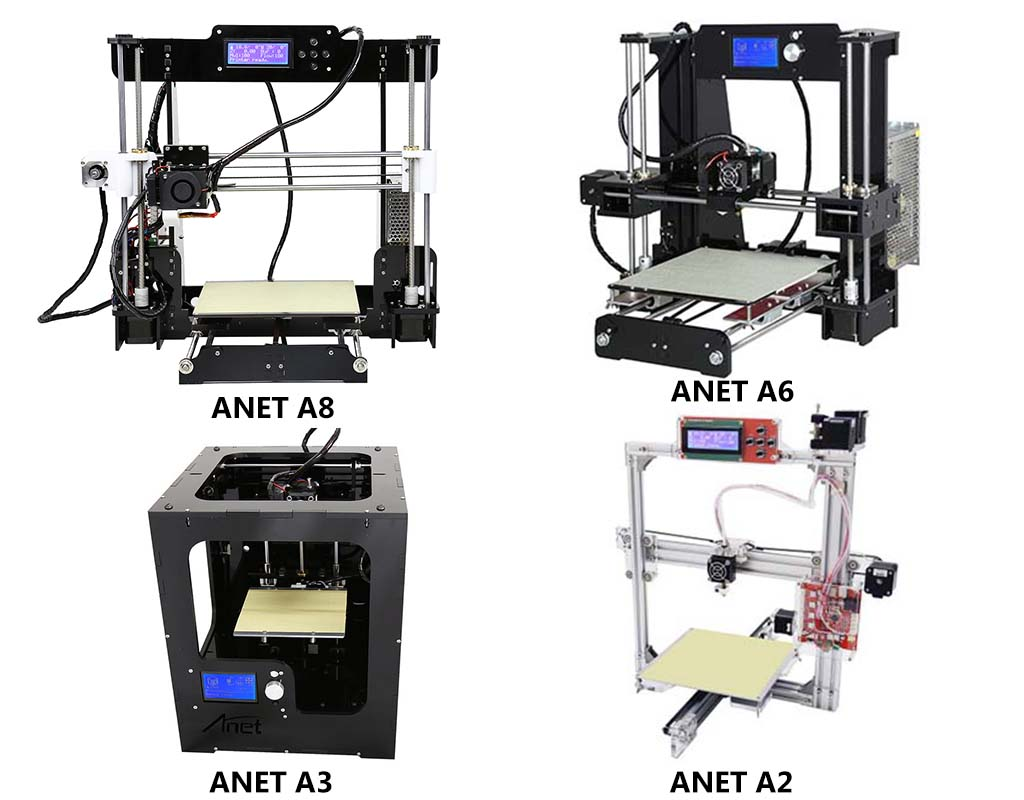 Best Anet 3D printers compared : Anet A8 vs A6 vs A3 vs A2 | Pevly
