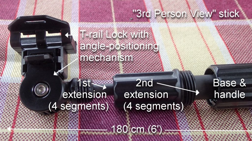 "Photo/diagram with ""Third Person View"" stick. T-rail lock with angle-positioning, first extension, second extension, base and handle.k"