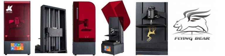 Flying Bear SLA/DLP 3D Printer shown from the front, back, side, with cover open, and printing a miniature elk.