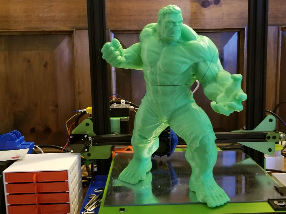 Photo of Hulk action figure printed on TEVA Michelangelo 3D printer with green filament.