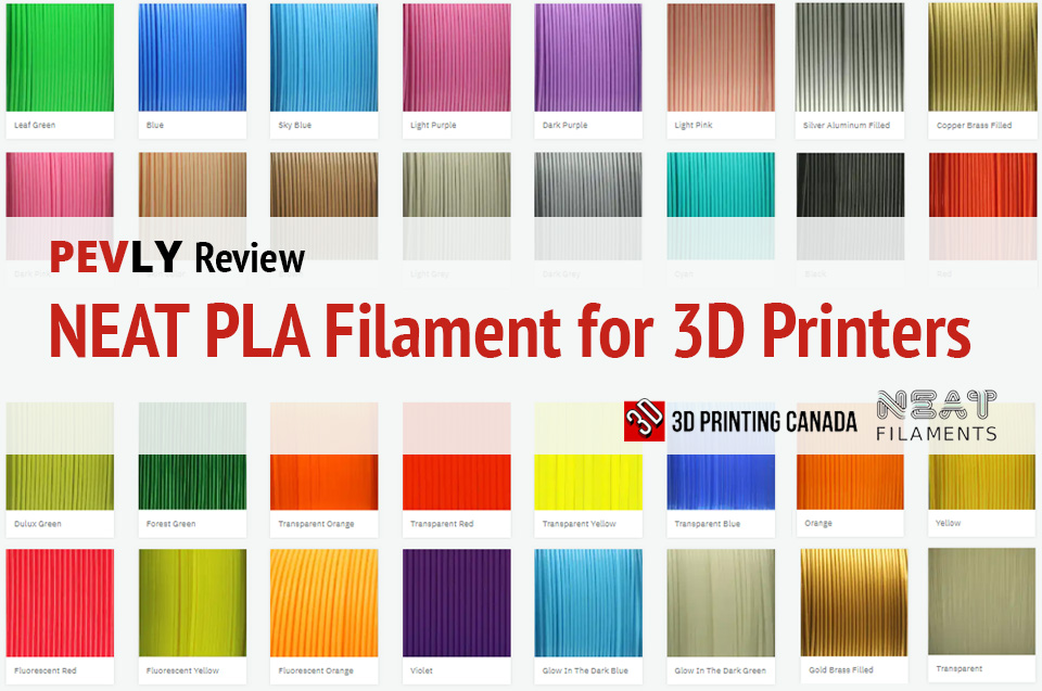 Photo of NEAT PLA Filament color samples.
