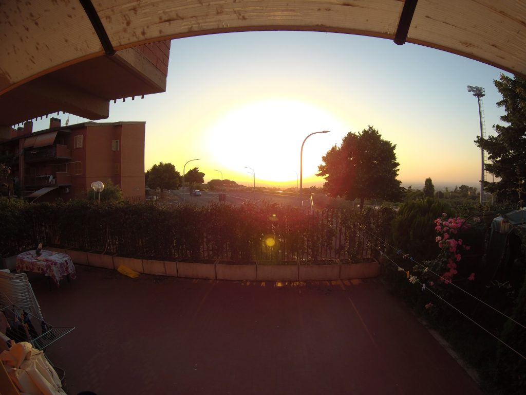 Photo taken from overhang with the camera facing the sun.