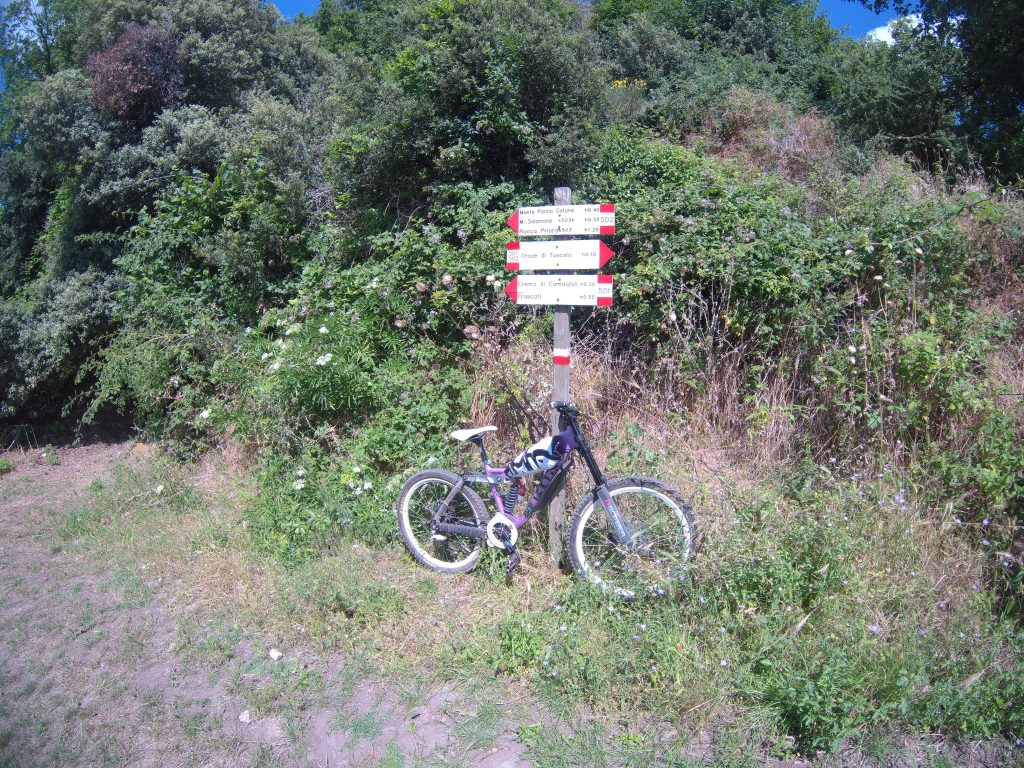Along the side of a path with bicycle and signs with small lettering.
