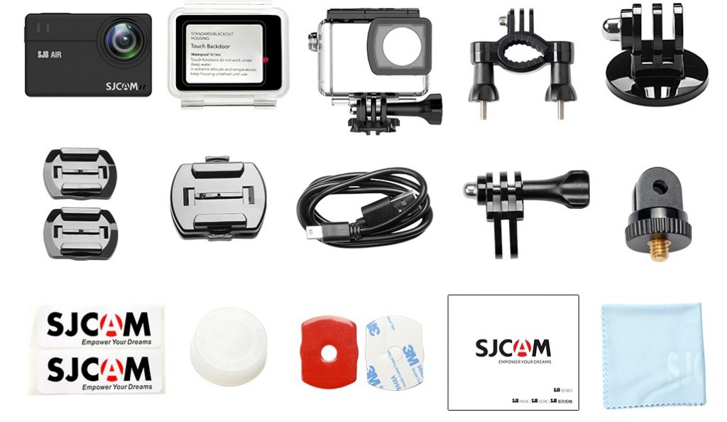 Photo of everything that comes with the SJ8 Pro's full set.