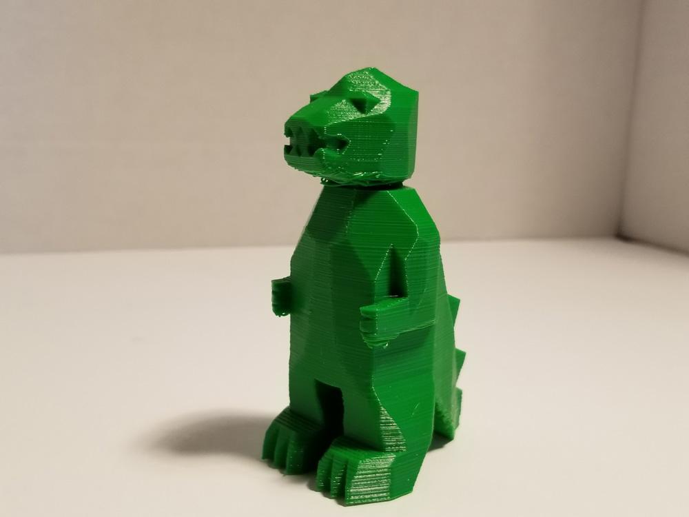 Tevo Michelangelo 3D Printer -- TPU filament -- green Godzilla - 3/4 view