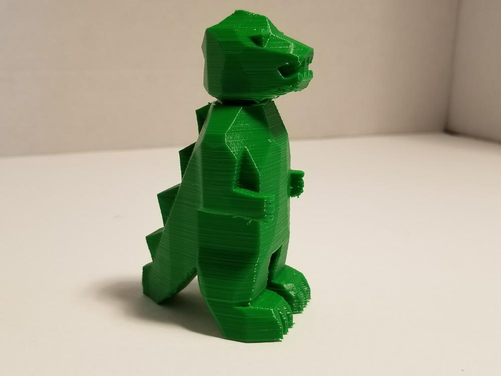 Tevo Michelangelo 3D Printer -- TPU filament -- green Godzilla - other side