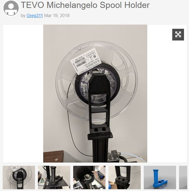 Photo of Tevo Michelangelo spool holder on Thingiverse.