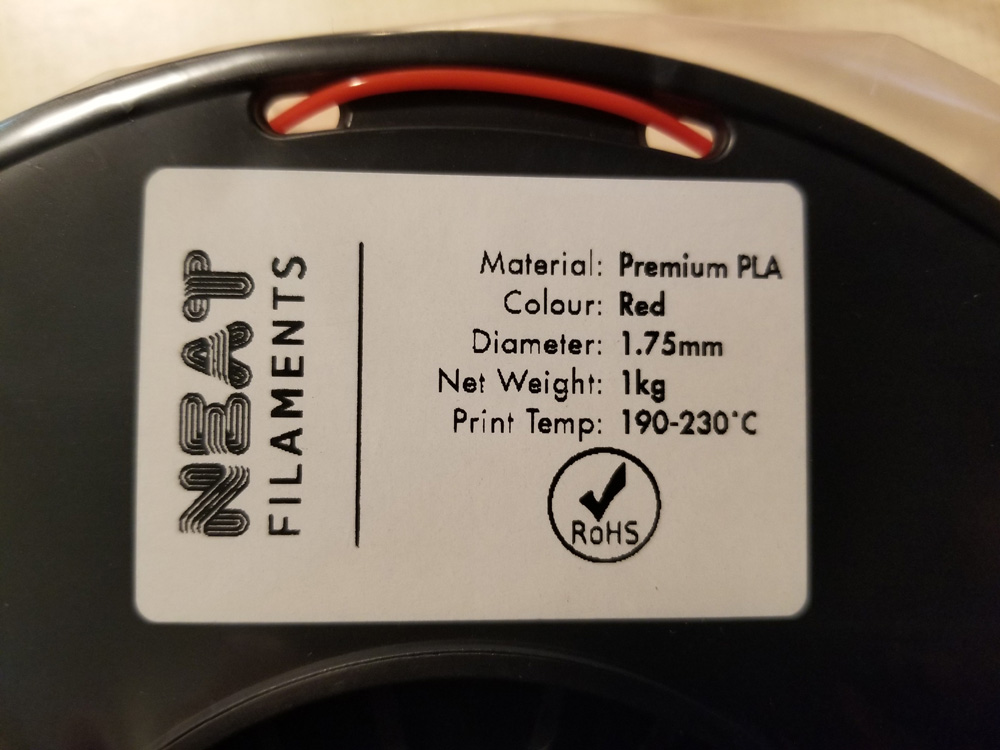 Close-up photo of label on Neat Filaments.