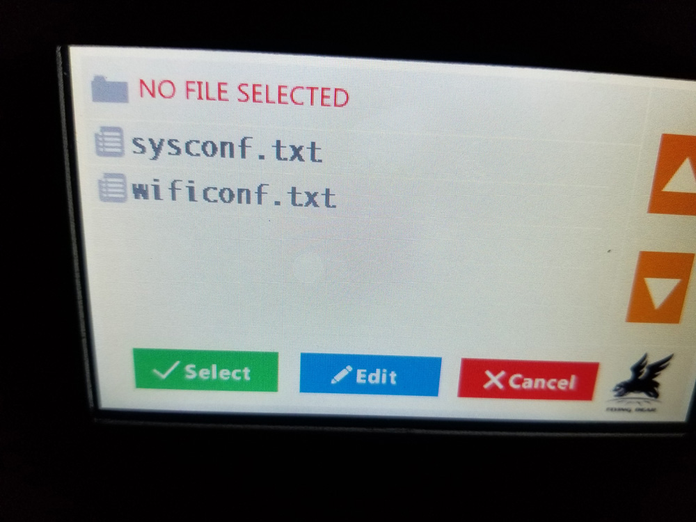 Screen shot with printer's sysconfig and wifi connection options.