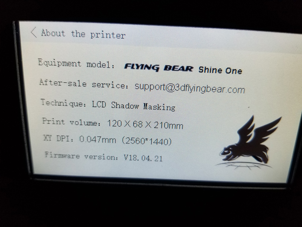 Company Info screen for Flying Bear printers.