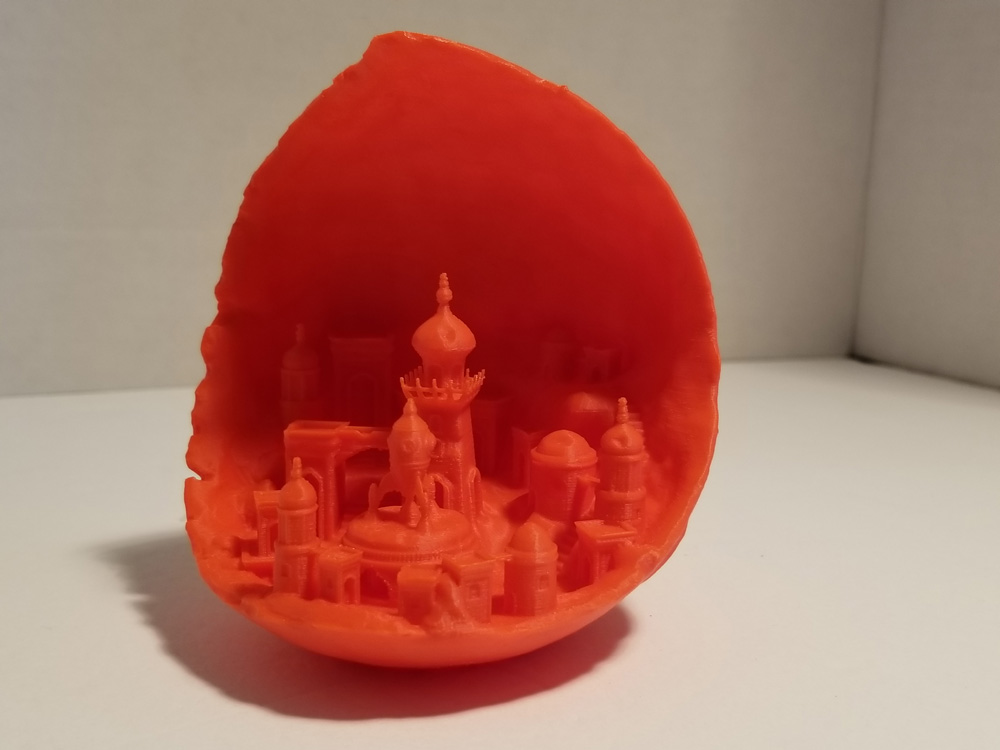 Photo of Moon City 3D printout.