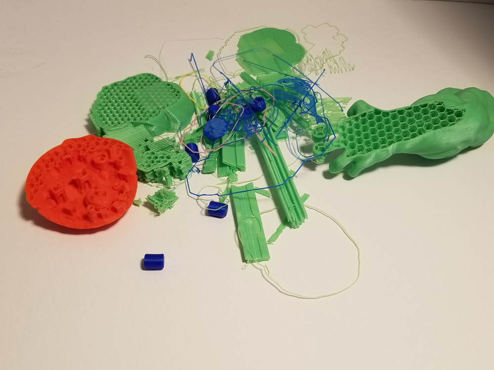 Photo of wasted plastic from 3D printer.